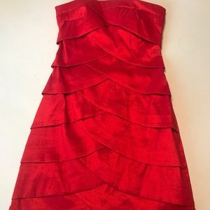Red Strapless Cocktail Dress